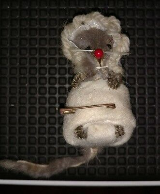 Vintage Original Toy Fur Mouse Baby in Diaper and Bonnet West Germany Rare