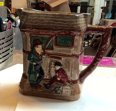 """Royal Doulton Dickens Oliver Twist 6"""" Square Relief Pitcher Jug"""