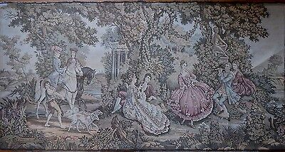 """Large Antique / vintage French Wall Hanging Tapestry Scene Galante.  77"""" x 40"""""""