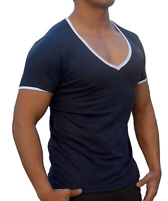 Mens Plain Dark Blue Contrast Deep V Neck T-Shirt Slim Fit Casual Gym Muscle