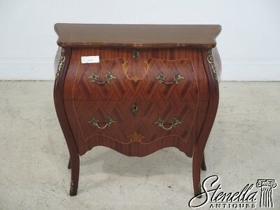 29182: French Louis XV Style Marquetry Inlaid Small 2 Drawer Accent Chest