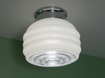 Flush Mount Mid Century Ceiling Light. Vintage Glass Shade. New Fixture Base
