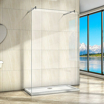 New Wet Room Shower Enclosure 8mm Easyclean Glass Screen Panel Double SupportBar