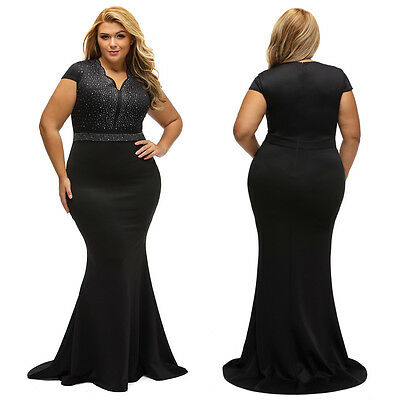 Rhinestone Bodice Scallop Neck Plus Sz Long Maxi Formal Gown Evening Party Dress