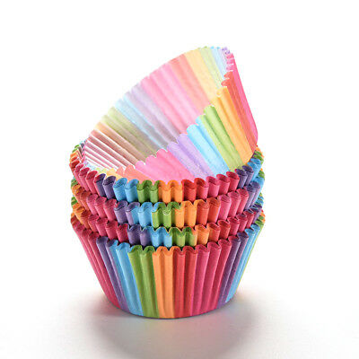 100x Rainbow Cupcake Liner Baking Cup Paper Muffin Cases Cake Box Egg Tarts Tray