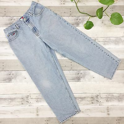 Vtg Tommy Hilfiger Mens Relaxed Fit Tapered Jeans Light Wash 34X30