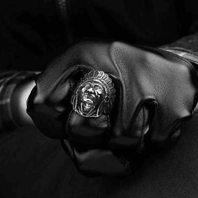 Indian Apache Chief Head Ring Native American Men's Vintage Stainless Steel Band