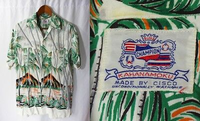 Vintage 50s/60s Duke KAHANAMOKU HAWAIIAN ALOHA SHiRT M Cisco/Champion/Volcano
