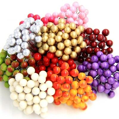 40pcs 80heads Scrapbooking Stamen Fruit Small Berries Artificial Flower cherry