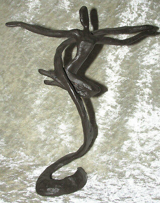 Art Deco Style Cast Iron Nude Dancer Female Abstract Statue Figurine 25CmT
