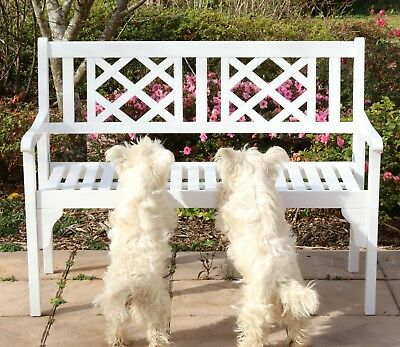 Garden Bench Outdoor Hardwood 2 Seater Chair Folding White Timber Bench Two Seat