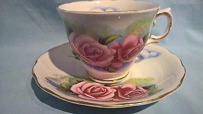 Royal Osborne Vintage Gilt Bone China Pink Roses & Clouds Cup & Saucer Duo #7972