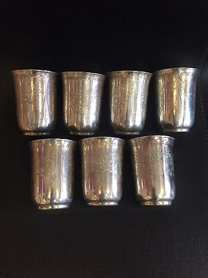 7  Antique Hand Made Turkish Ottoman Silver Cups 730 Gr Islamic tugra