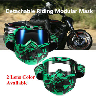 Detachable Modular Face Mask Shield Goggles Protect For Motorcycle Riding Helmet