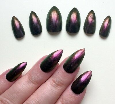 Hand Painted False Nails STILETTO (Or ANY SHAPE) Chameleon Red, Gold, Purple UK