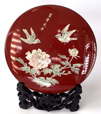 Chinese Ornamental Lacquer and Mother of Pearl Plaque with Stand and Box