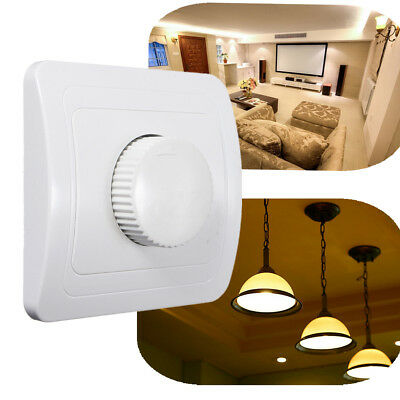 LED Rotating Dimmer Knob Switch Light Lamp Control Wall Socket Panel Plate White