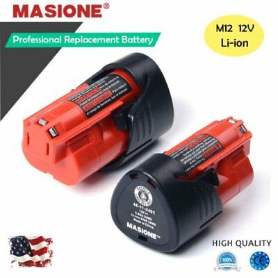 2pc Brand Milwaukee M12 Red batteries 12V 2.5Ah Compact Li-ion Battery Packs OY