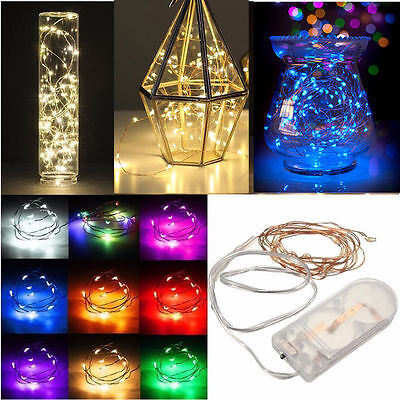 2M 20 LED Battery Operated Micro Copper Silver Wire LED Fairy Lights Xmas Party