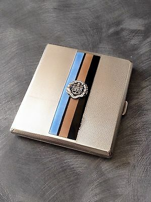 Lovely Solid Silver And Enamel Cigarette Case Birmingham 1940