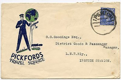 GB PICKFORDS ILLUSTRATED ENVELOPE to IPSWICH RAILWAY STATION LARGE PARCEL CANCEL