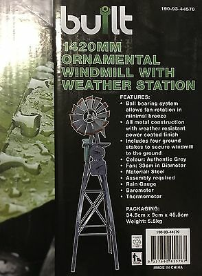 Ornamental Steel Windmill 1420Mm With Rain Gauge Barometer Thermometer Garden