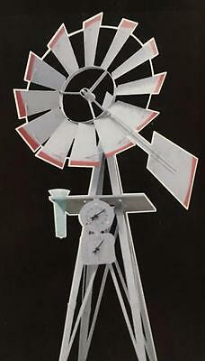 Ornamental Steel Windmill With Rain Gauge 2400Mm Garden Decorative Replica New