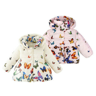 Infant Baby Girls Toddler Winter Hooded Coat Butterfly Jacket Outerwear Clothes