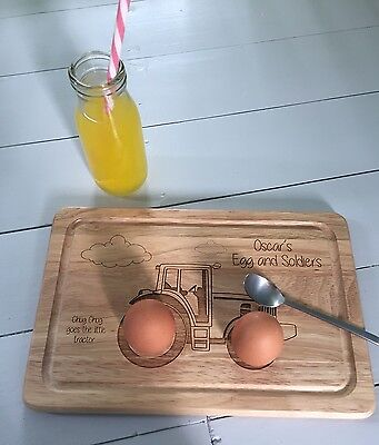 Egg Board Personalised Havea Wood Tractor, Clouds, Eggs, Soldiers, Chug Chug