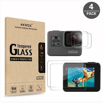 (Pack Of 4) Tempered Glass Screen Protector For Gopro Hero 5 (Screen And Lens),
