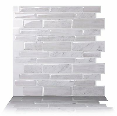 Tic Tac Tiles®_ Premium 3D Peel & Stick Wall Tile in Polito White (10 sheets)