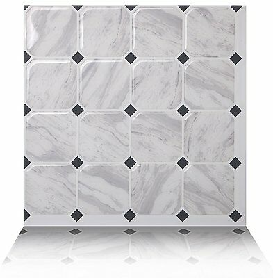Tic Tac Tiles®_ Premium 3D Peel & Stick Wall Tile in Marmo White (10 sheets)