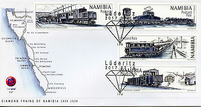 Namibia 2017 FDC Diamond Trains of Namibia 4v Set Cover Railways Stamps