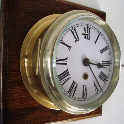 Brass Bulk Head/ Ships Clock - Good Timekeeper
