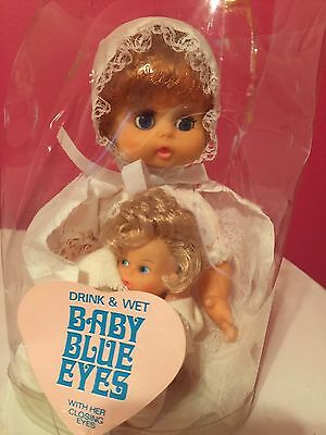 Vintage Drink & Wet Baby Blue Eyes In Original Package 📦 With Baby DolL