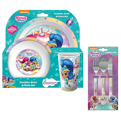 Shimmer and Shine | Genies 6pc Tumbler, Bowl, Plate Set & Cutlery | Mealtime