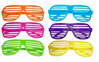Pack Of 6 Neon Shutter Shade Glasses Retro Fancy Dress Clubbing Party Accessory