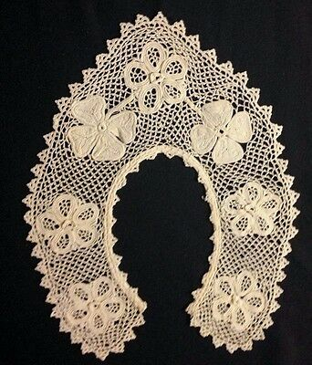 Exceptional Old Irich Crochet Lace Beautiful Rare Pattern Collar