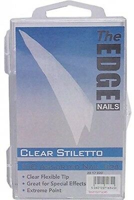 The Edge Stiletto Clear Nail Tip - Pack Of 100