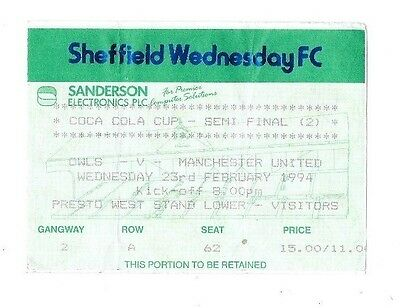 Sheffield Wednesday v Manchester United, 1993/94 - League Cup Semi-Final Ticket.