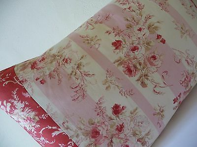 Antique French Fabric Pillow Antique French Linen French Red Rose Fabric