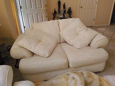 Sofa-bed, loveseat, chair, coffee table, 2 end tables in Ivory Italian Leather