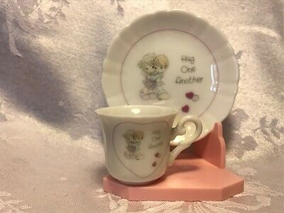 "Precious Moments Mini Teacup and Plate - 1989 - ""Hug One Another"""