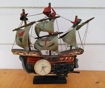 Antique Wooden Ship Clock Music Box WORKS Signed Meiko Hand Carved
