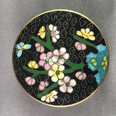 Vintage Cloisonne Enamel Round Box w/ Flowers & Butterfly Black and Teal