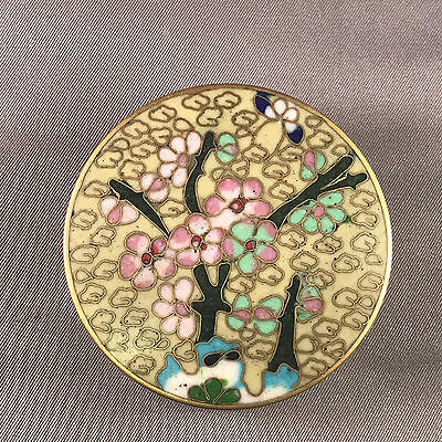 Vintage Cloisonne Enamel Round Box w/ Flowers Branch & Butterfly Cream and Teal