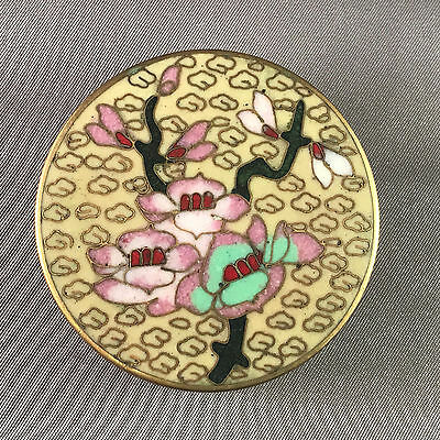 Vintage Cloisonne Enamel Round Box w/ Flowers Branch  Cream and Teal