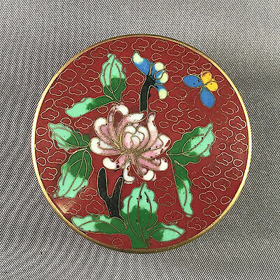 Vintage Cloisonne Enamel Round Box w/ Flowers Branch Butterfly Red and Teal