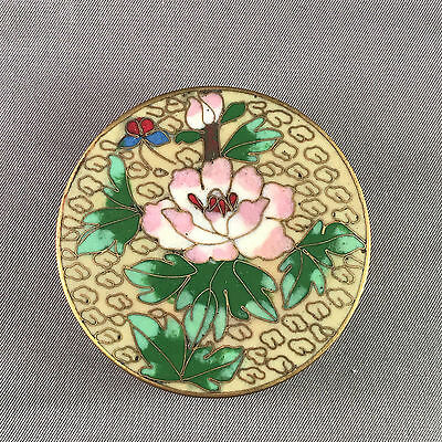 Vintage Cloisonne Enamel Round Box w/ Lotus Flowers Butterfly Cream and Teal