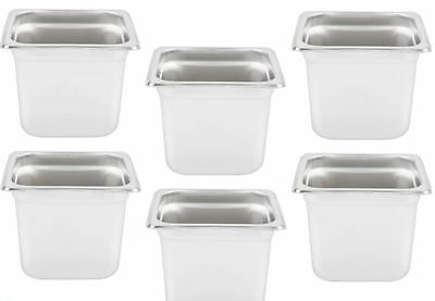 "6 PACK 1/6 Size Stainless Steel Steam Prep Table Hotel Pan 7"" x 6"" x 6"" Deep NEW"